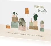 Verhuiskaart met plantjes en verhuisdozen verhuisbericht