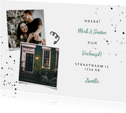 Verhuiskaart met spetters en foto's