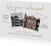 Verhuiskaart oude en nieuwe huis sleutel goud verhuizen