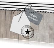 Verhuiskaart Strepen Hout Huisje Label L