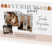 Verhuiskaart verhuisbericht met foto's en sleutel