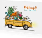 Verhuiskaart Volkswagen pick-up kleurrijk