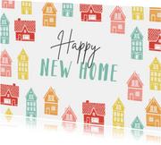 Verhuiskaart vrolijk kleurrijk huisjes new home