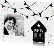 Verhuiskaart zwart-wit feest