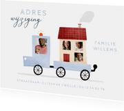 Verhuiskaartje adreswijziging busje met foto's en huisje