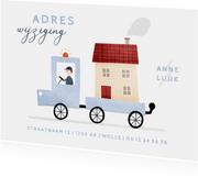 Verhuiskaartje adreswijziging busje met huis