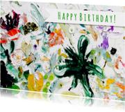 Verjaardag wens kunst botanisch