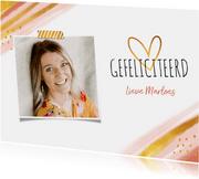 Verjaardagkaart felicitatie vrouw abstract goud hartje