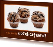 Verjaardagskaarten - Verjaardagskaart bruine Cupcakes - OT