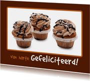 Verjaardagskaart bruine Cupcakes - OT