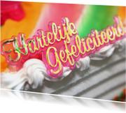Verjaardagskaart letters op taart