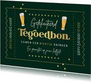 Verjaardagskaart man tegoedbon bier vintage goud