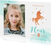 Verjaardagskaart stijlvol met eenhoorn en eigen foto