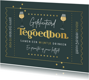 Verjaardagskaart tegoedbon wijn goud confetti