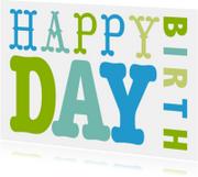 Verjaardagskaart tekst groen blauw