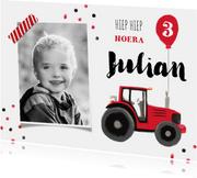 Verjaardagskaart tractor confetti ballon boerderij