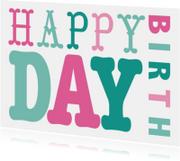 Verjaardagskaart vrouw tekst roze groen