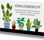 Vlotte verhuiskaart met verschillende planten