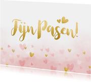 Vrolijke paaskaart met gouden hartjes en roze waterverf