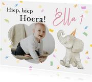 Vrolijke verjaardagskaart met foto, olifant en confetti