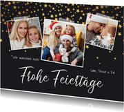 Weihnachtskarte 'Frohe Feiertage' 3 Fotos und Sterne