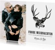 Weihnachtskarte Merry Christmas mit Foto und Hirschkopf