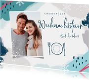 Winterliche Einladung zur Weihnachtsfeier mit Foto