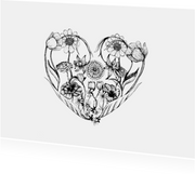 Zomaar een bloemige hart kaart
