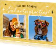 Zomerse gele vakantie ansichtkaart met 2 eigen foto's