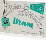 Verjaardagskaarten - Zwarte lijnteksten en tekeningen