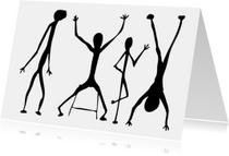 Kunstkaarten - 4 zwarte poppetjes op rij