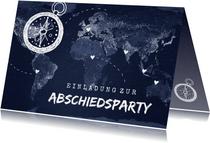 Abschiedsparty Einladung Weltkarte