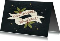 Adventskarte mit Bändern und Sternchen