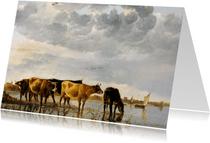 Albert Cuyp. Koeien in een rivier
