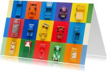 Kinderkaarten - Auto's met feestelijke kleuren