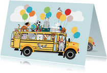Back to School kinderkaart met schoolbus vol dierenvrienden