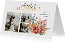 Bedankkaart bohemian droogbloemen stijlvol goud fotocollage