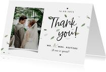 Bedankkaart bruiloft ecologisch blaadjes thank you fotokaart
