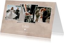 Bedankkaart bruiloft neutrale waterverf fotocollage