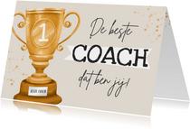 Bedankkaart coach kampioen beker bedankt goud waard