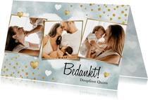 Bedankkaart doopfeest jongen met waterverf, hartjes & foto's