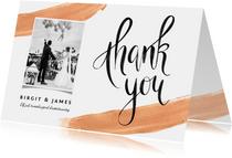 Bedankkaart goudlook met verf en kalligrafie