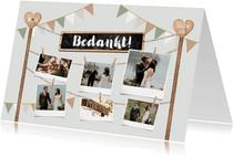 Bedankkaart houtlook festival style wegwijzers fotocollage