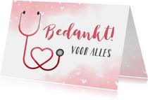 Bedankkaart hulpverlener stethoscoop hart met waterverf