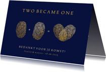 Bedankkaart huwelijk met vingerafdrukken - two became one