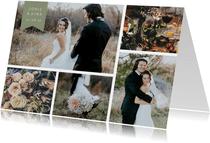 Bedankkaart met fotocollage en label met namen