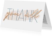Bedankkaart 'Thank you all' met goudlook en waterverf