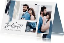 Bedankkaart trouwen blauw verf hartjes stijlvol fotocollage