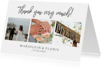 Bedankkaart trouwen chique met foto's