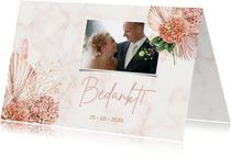 Bedankkaart trouwen hortensiabloemen